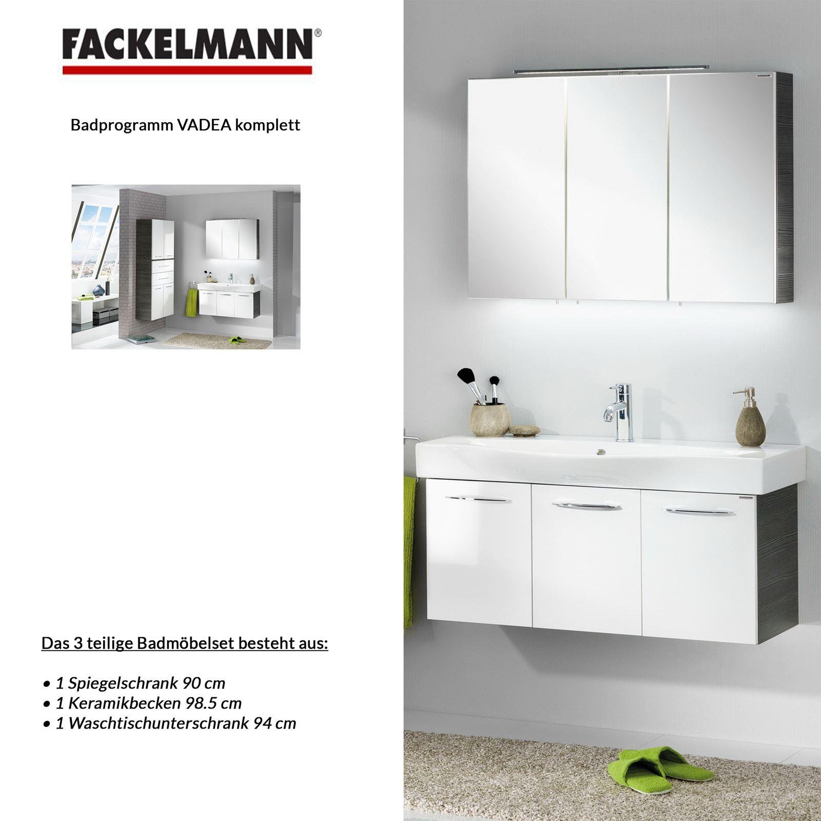 fackelmann badm bel set vadea 3 tlg 90 cm anthrazit wei inkl led spiegelschrank mm comsale. Black Bedroom Furniture Sets. Home Design Ideas