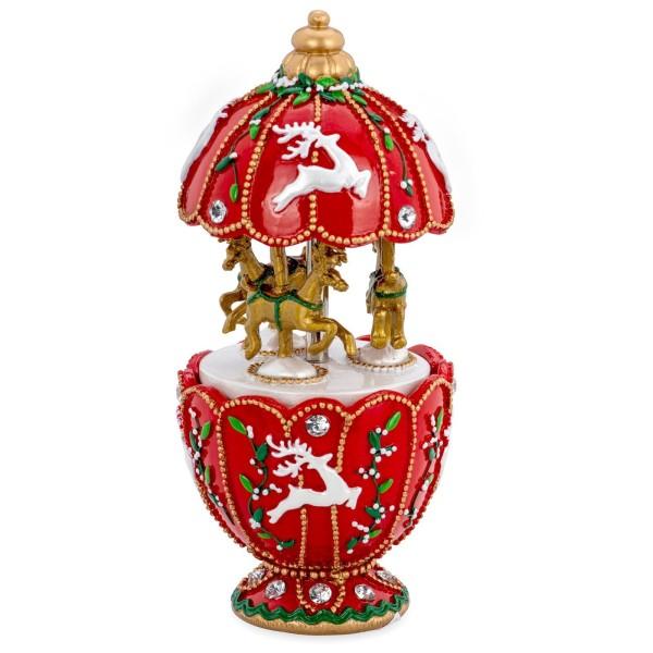 große Spieluhr Ø 7.5 cm Karussell mit Rentieren aus Kunststein - Art.-Nr. 6357