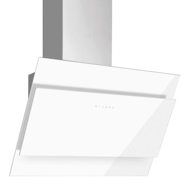 weiße kopffreie Abluft Wandhaube 60 cm Edelstahl Glas