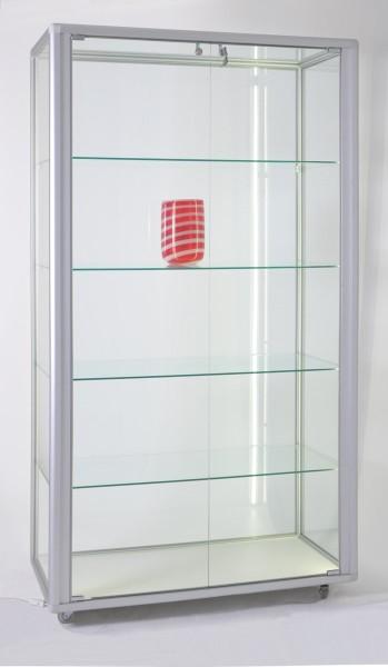 stabile rollbare beleuchtete Alu-Glasvitrine Ausstellung mit Schloss 99 x 55 cm - Art.-Nr. OL9955-mb-r