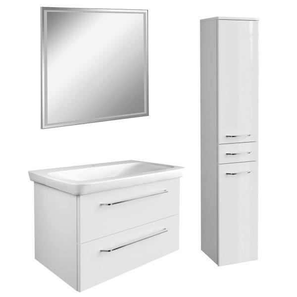 Fackelmann hängendes weißes Bad Möbel Set 80 cm 4 teilig LED