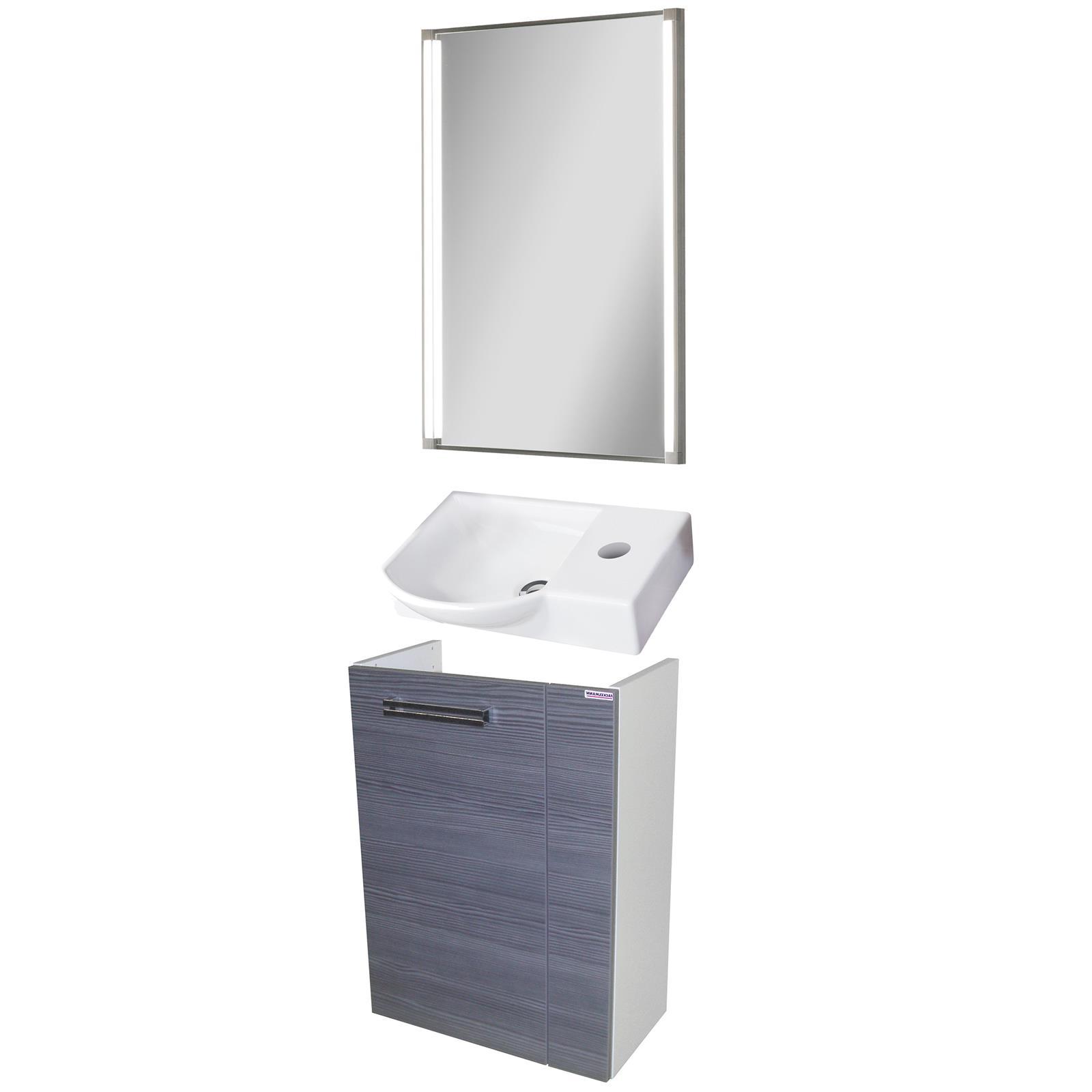 fackelmann badm bel set como g ste wc 3 tlg 45 cm anthrazit led spiegelelement mm comsale. Black Bedroom Furniture Sets. Home Design Ideas