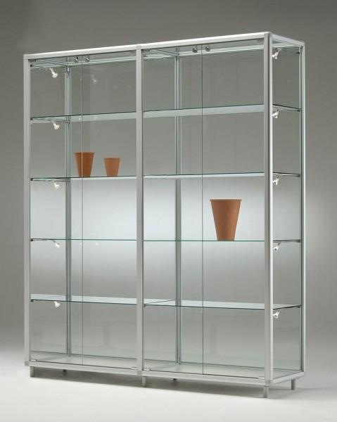 große breite Glas Ausstellungsvitrine mit Beleuchtung abschließbar 150 cm  - Art.-Nr. BV15542-mb-gr