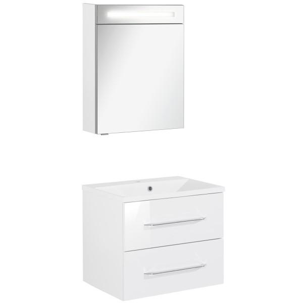Fackelmann Badmöbel Set B.Clever 2-tlg. 60 cm weiß inkl. LED Spiegelschrank